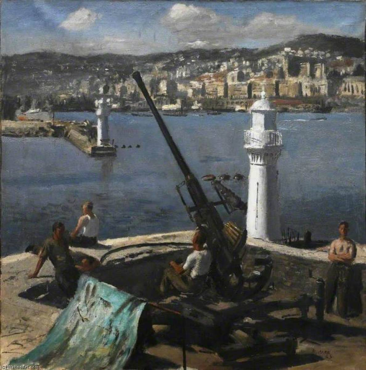 A Bofors Gun, Algiers, 1943 by Henry Marvell Carr | Oil Painting | WahooArt.com