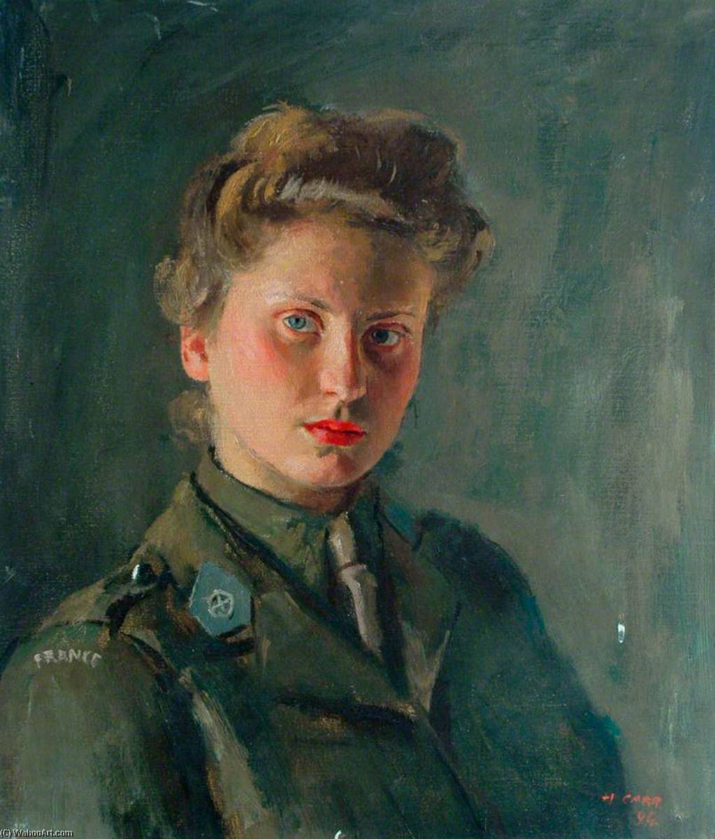 Micheline Dehais, French Ambulance Driver, Oil On Canvas by Henry Marvell Carr