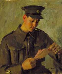Order Museum Quality Reproductions : Staff Sergeant Major E. A. Billett, 1943 by Henry Marvell Carr | WahooArt.com
