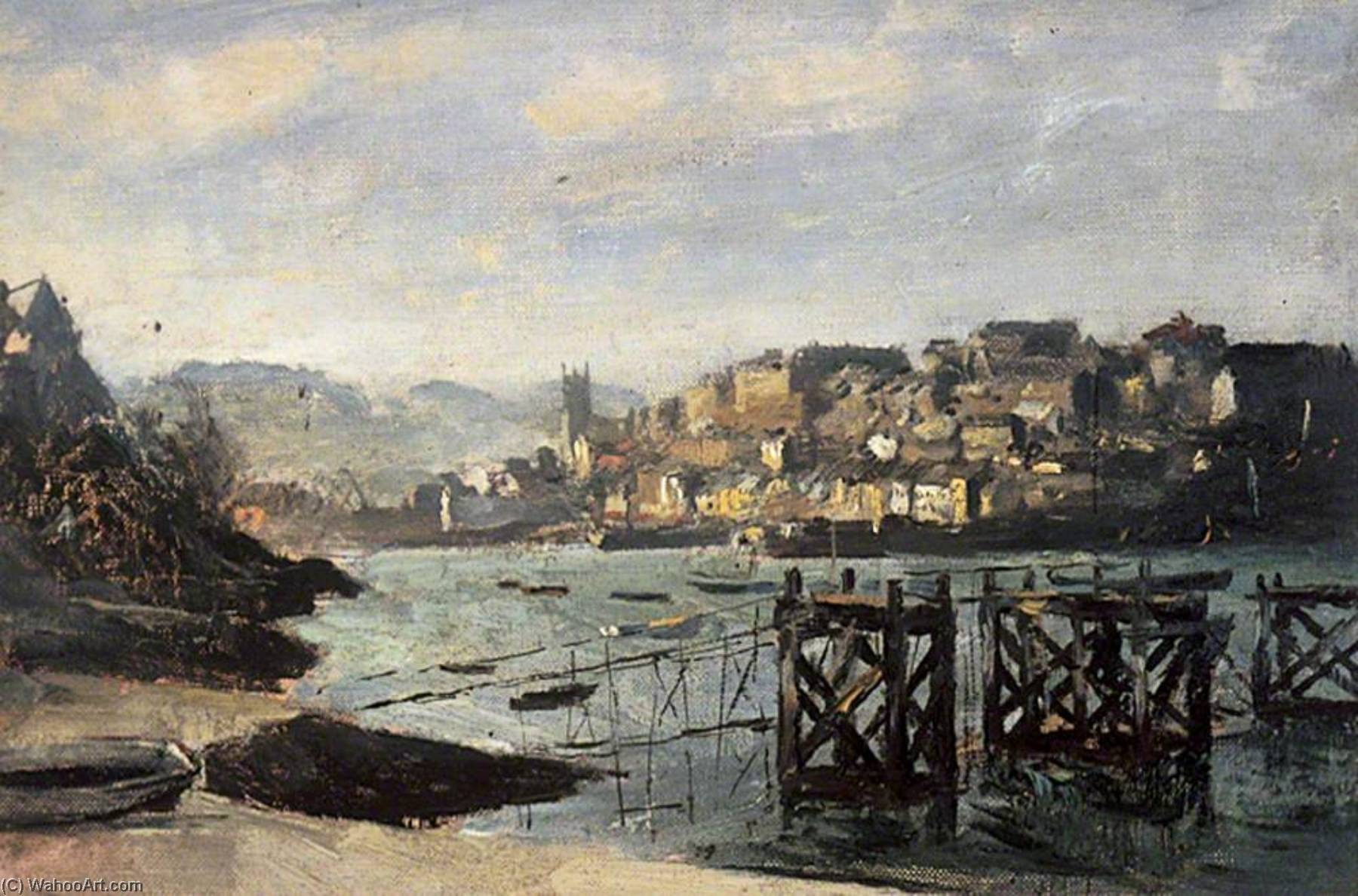 Brixham, Devon, Oil On Canvas by Henry Marvell Carr