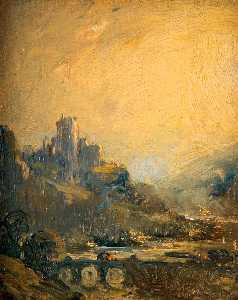 Joseph Alfonso Toft - Castle with Yellow Sky