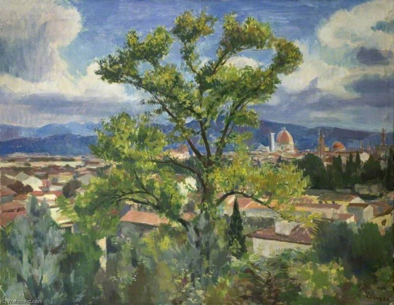 Florentine Landscape, Oil On Canvas by Theodor Kern