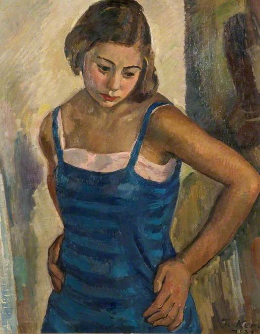 Portrait of a Young Woman in a Blue Dress, 1931 by Theodor Kern | WahooArt.com