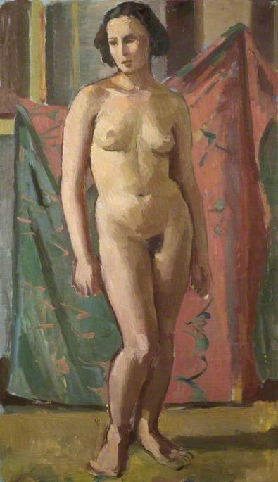 Standing Female Nude, Oil On Canvas by Theodor Kern