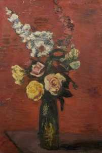 Theodor Kern - Flowers Including Roses in a Tall Vase