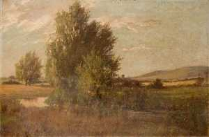 Theodor Kern - Landscape with a Tree by a River and Hills in the Distance