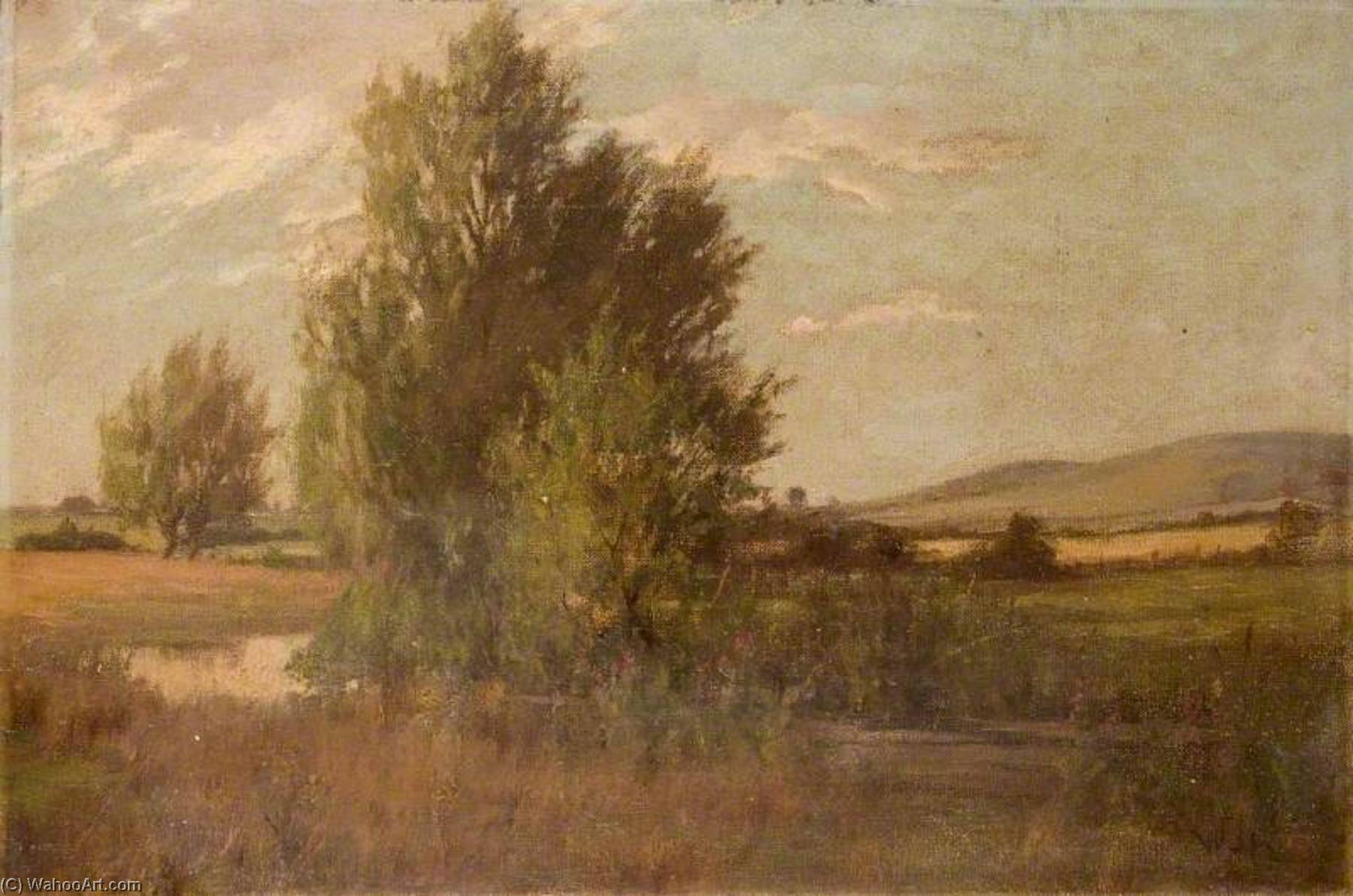 Landscape with a Tree by a River and Hills in the Distance, Oil On Canvas by Theodor Kern