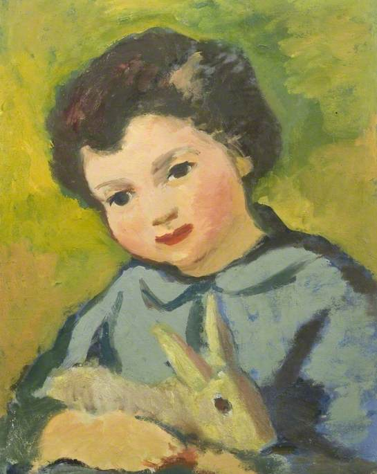 Portrait of a Child with a Rabbit by Theodor Kern | WahooArt.com