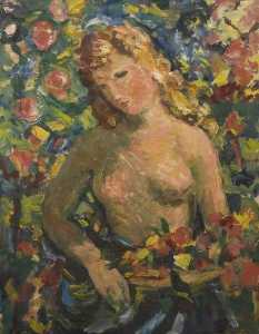 Theodor Kern - Standing Nude Holding a Bouquet