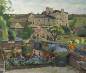Theodor Kern - Flower Garden with a Large House beyond