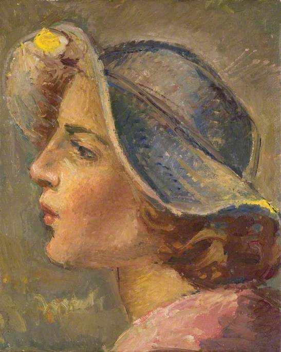 Head and Shoulders Portrait in Profile of of a Young Woman in a Broad Brimmed Hat by Theodor Kern | Painting Copy | WahooArt.com