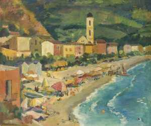 Theodor Kern - Elevated View of a Beach and a Village