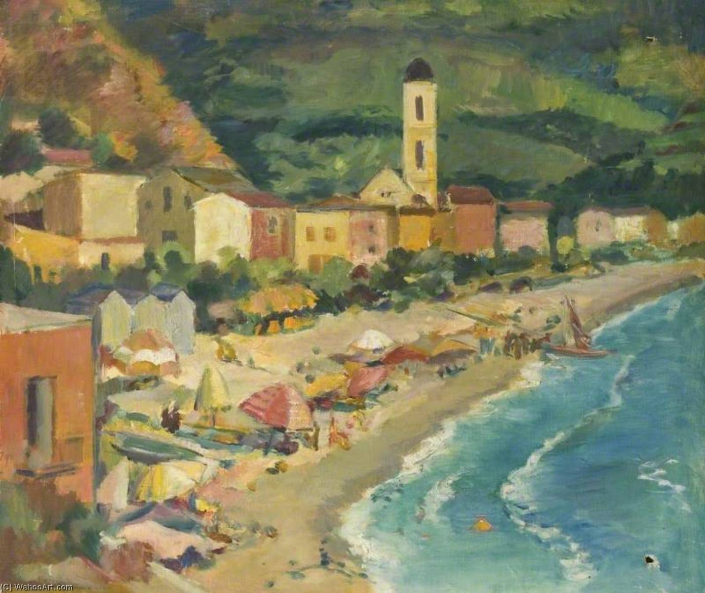 Elevated View of a Beach and a Village by Theodor Kern | Famous Paintings Reproductions | WahooArt.com