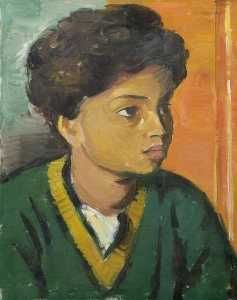 Theodor Kern - Portrait of a Child in a Green V Neck Sweater