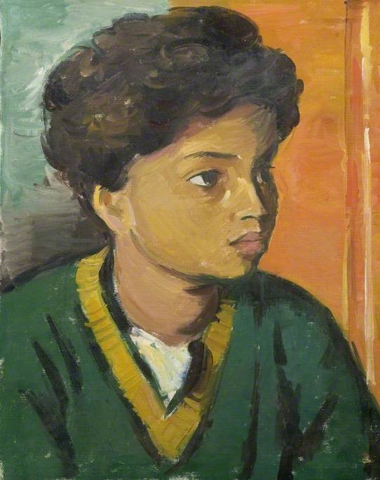 Portrait of a Child in a Green V Neck Sweater, Oil On Canvas by Theodor Kern