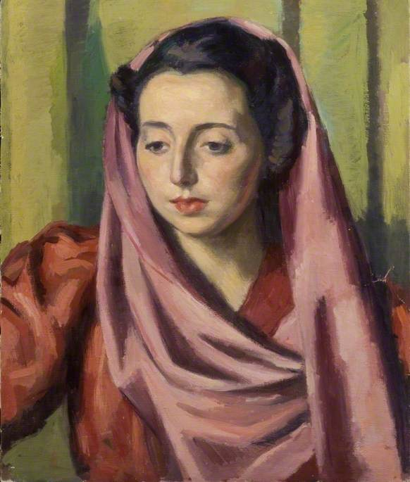 Portrait of a Woman with a Purple Shawl and a Red Dress, Oil On Canvas by Theodor Kern