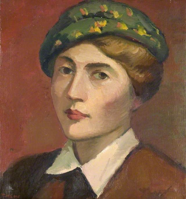 Head and Shoulders Portrait of a Woman in a Green Hat, Oil On Canvas by Theodor Kern