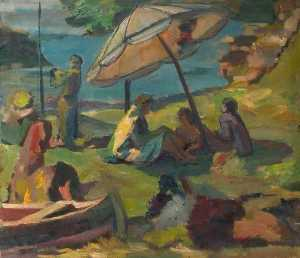 Theodor Kern - Beach Scene with a Sunshade