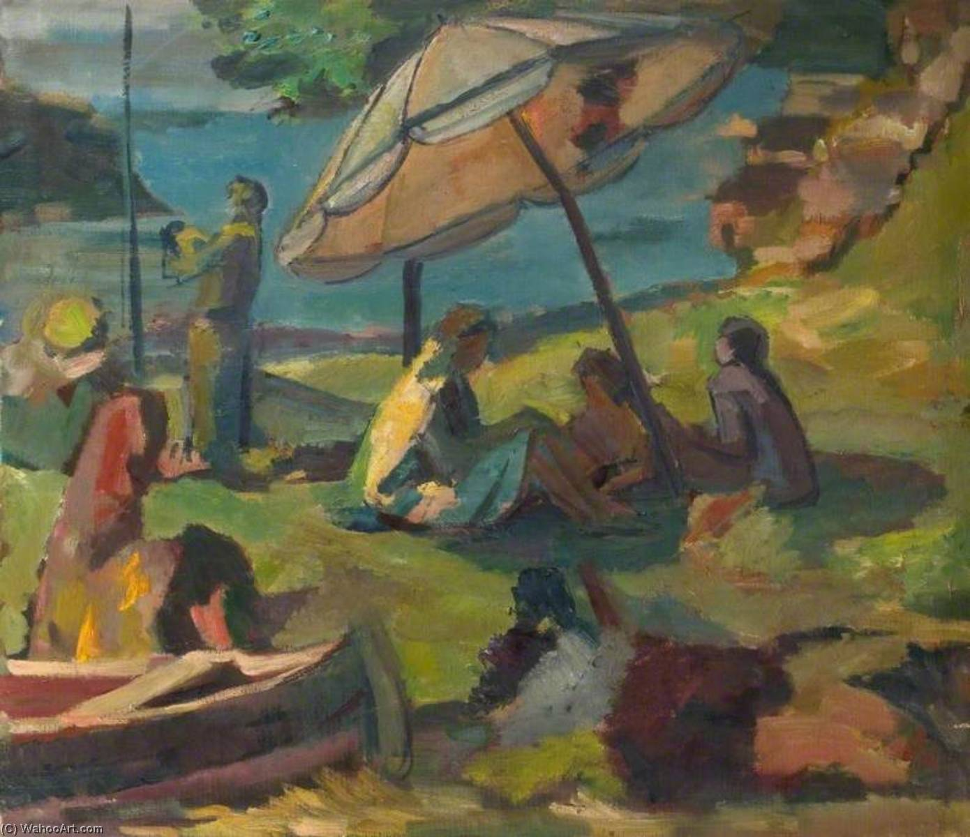 Beach Scene with a Sunshade, Oil On Canvas by Theodor Kern