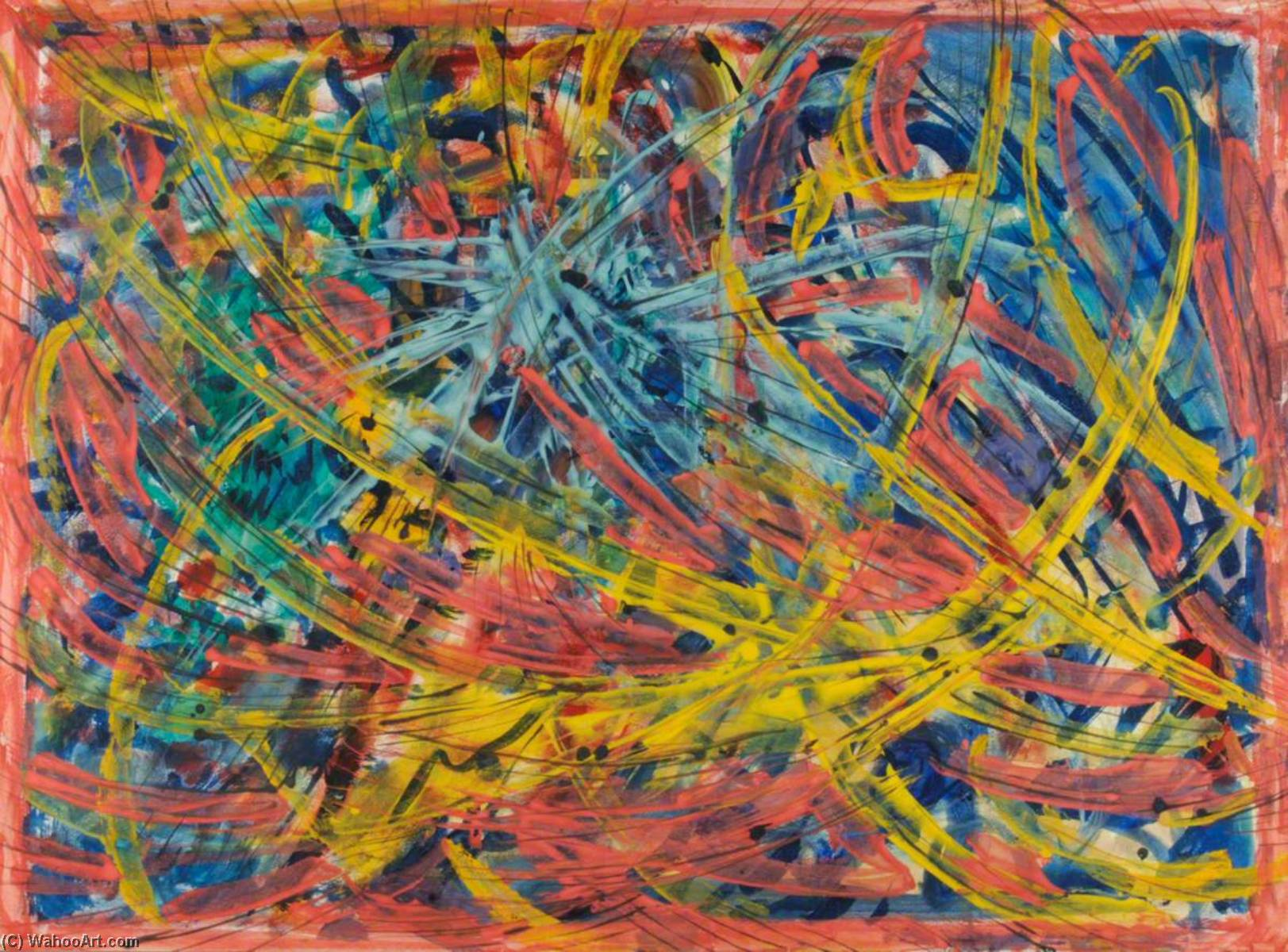 Abstract Yellow, Red and Blue, Tempera by Theodor Kern