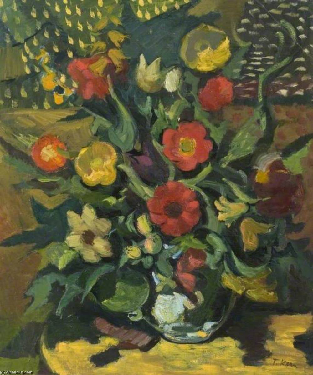 Still Life, Yellow and Red Flowers Arranged in a Vase, Oil On Canvas by Theodor Kern