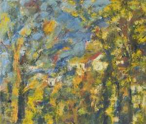 Theodor Kern - Hillside and Houses Framed by Trees, an Impressionist Study
