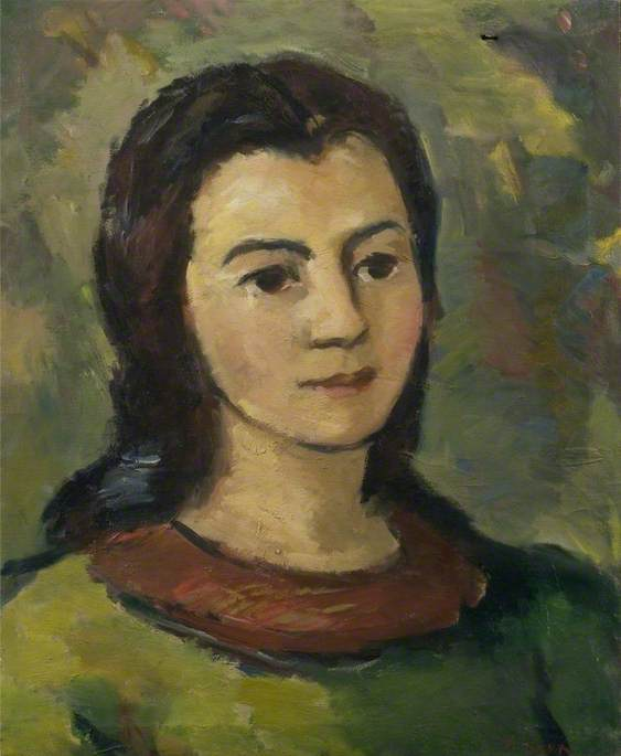 Portrait of a Young Woman with a Green Dress and a Brown Collar, Oil On Canvas by Theodor Kern