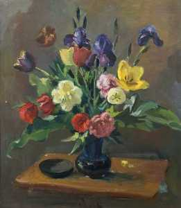 Theodor Kern - Still Life, Tulips and Irises