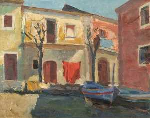 Theodor Kern - House with Boats (probably Venice, Italy)