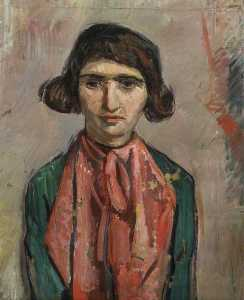 Theodor Kern - Portrait of a Woman with a Red Silk Scarf and a Green Dress