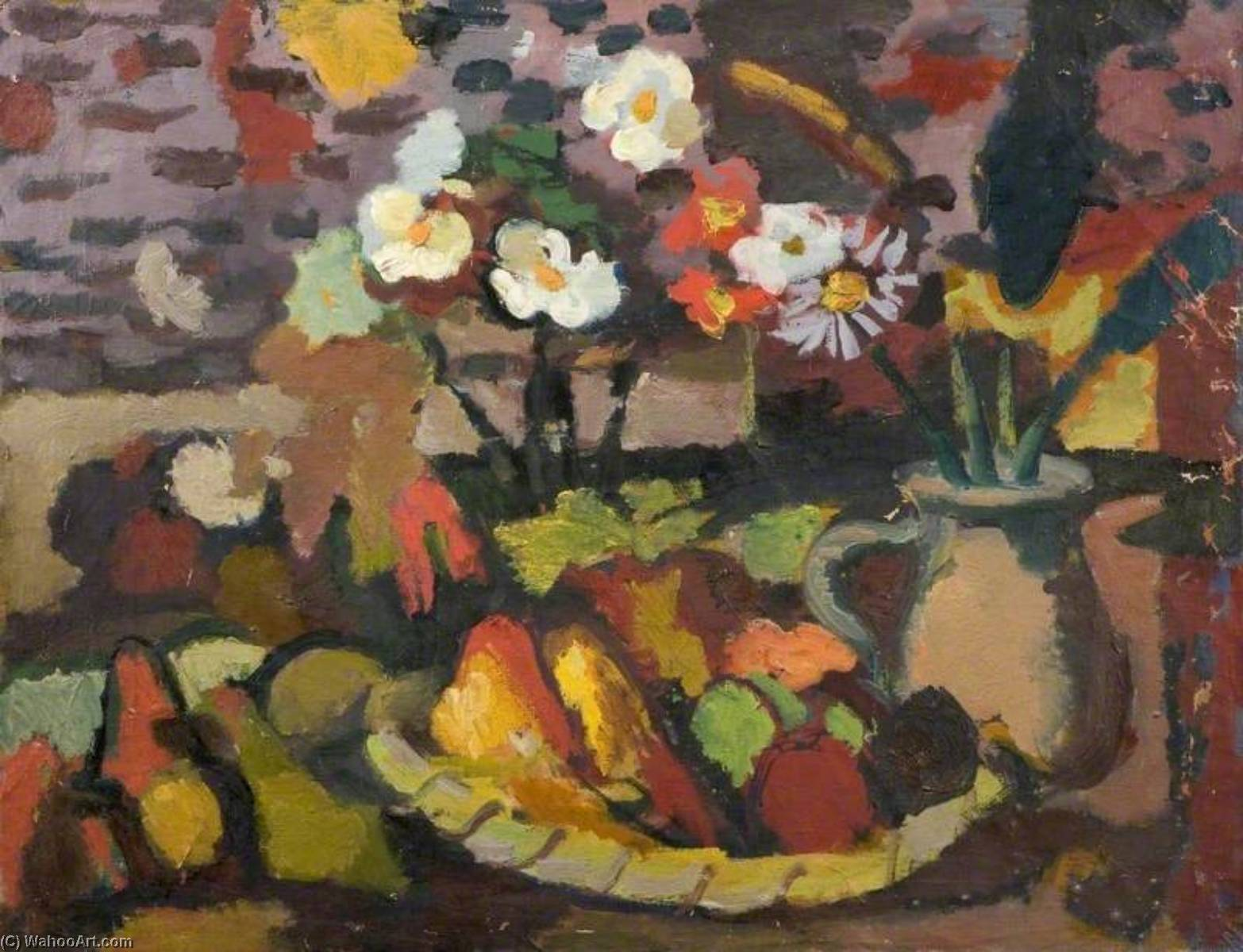 Still Life with a Fruit Bowl and a Jug with Flowers, Oil On Canvas by Theodor Kern