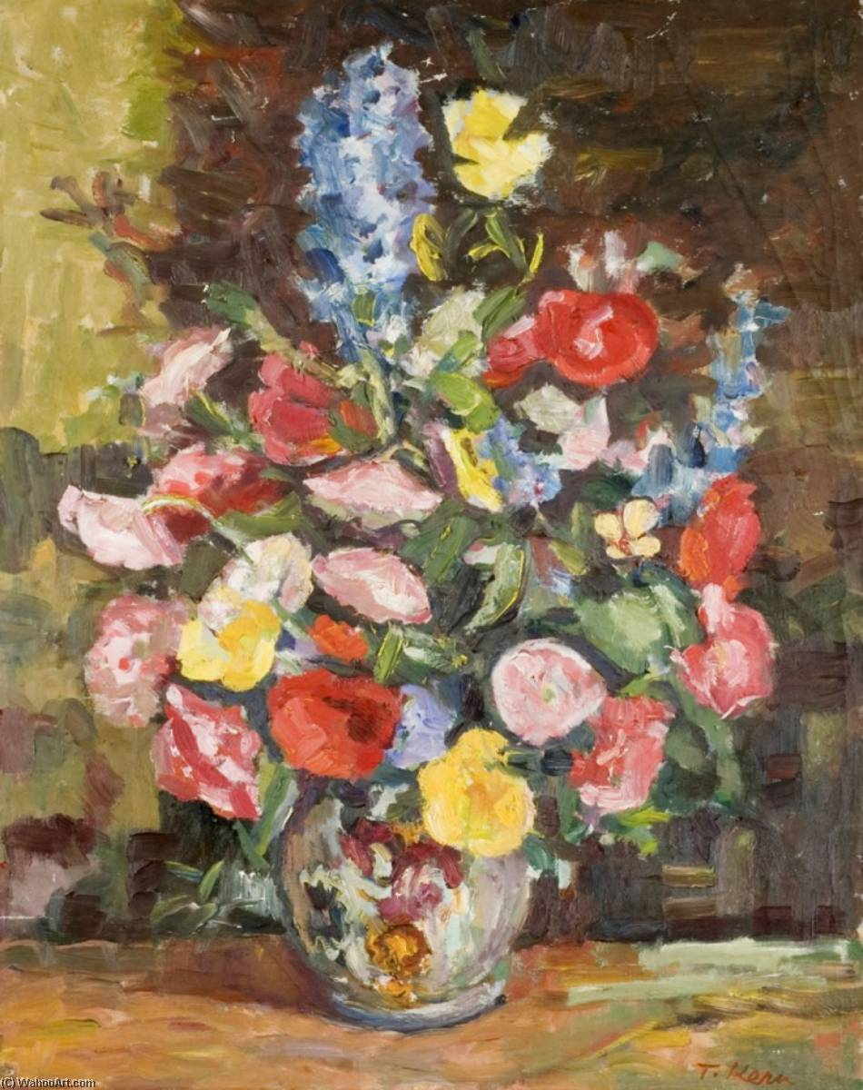 Flowers in a Vase with a Brown Background, Oil On Canvas by Theodor Kern