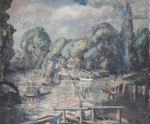 Alan Francis Clutton Brock - View of a River with Boats and Trees