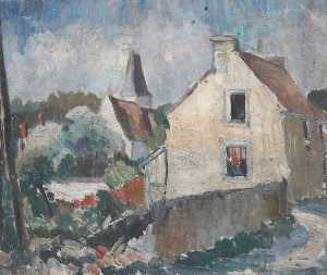 Alan Francis Clutton Brock - Village Scene in France