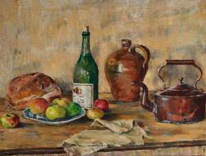 Alan Francis Clutton Brock - Still Life of Vessels, Bread and Apples, on a Table