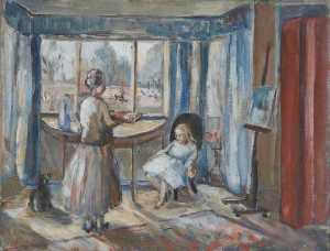 Alan Francis Clutton Brock - Interior with a Girl Seated in a Chair and an Elderly Lady Standing