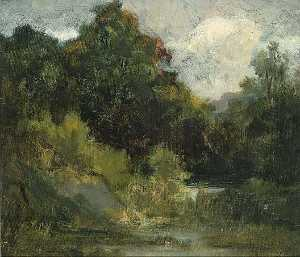 Edward Mitchell Bannister - Landscape (trees), (painting)