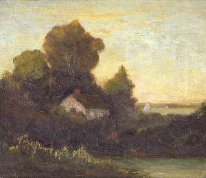Edward Mitchell Bannister - Untitled (house in woods near lake), (painting)