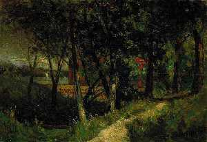 Edward Mitchell Bannister - Untitled (landscape, forest scene with red fence and building), (painting)