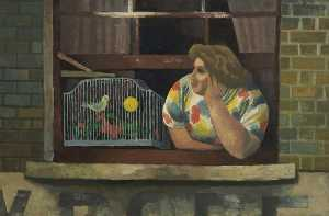 Cliff Rowe - Woman with Birdcage in Window