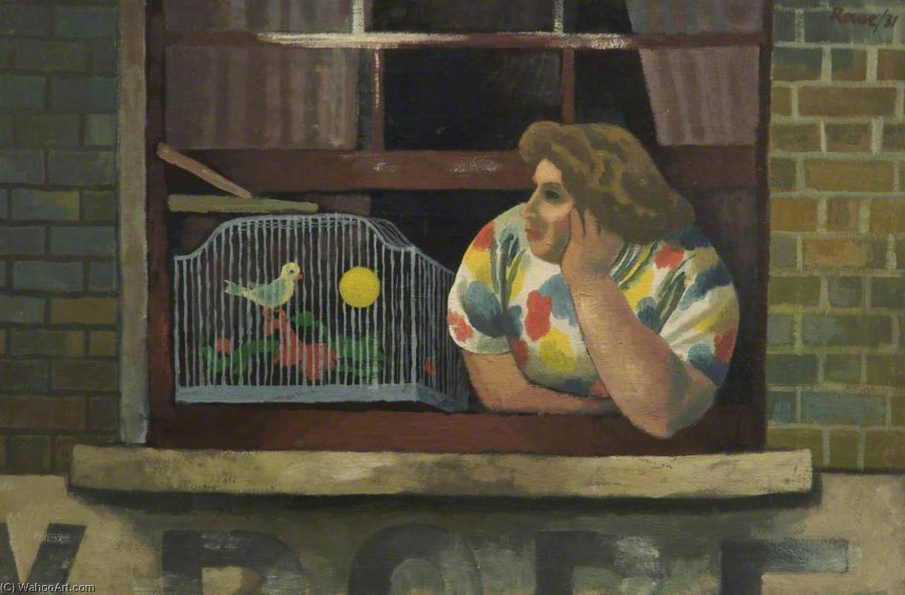 Woman with Birdcage in Window, Oil by Cliff Rowe