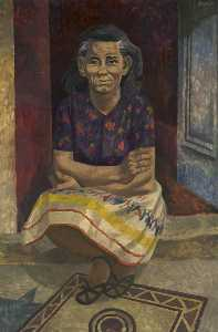 Order Painting Copy : Woman Sitting on Doorstep, 1931 by Cliff Rowe | WahooArt.com