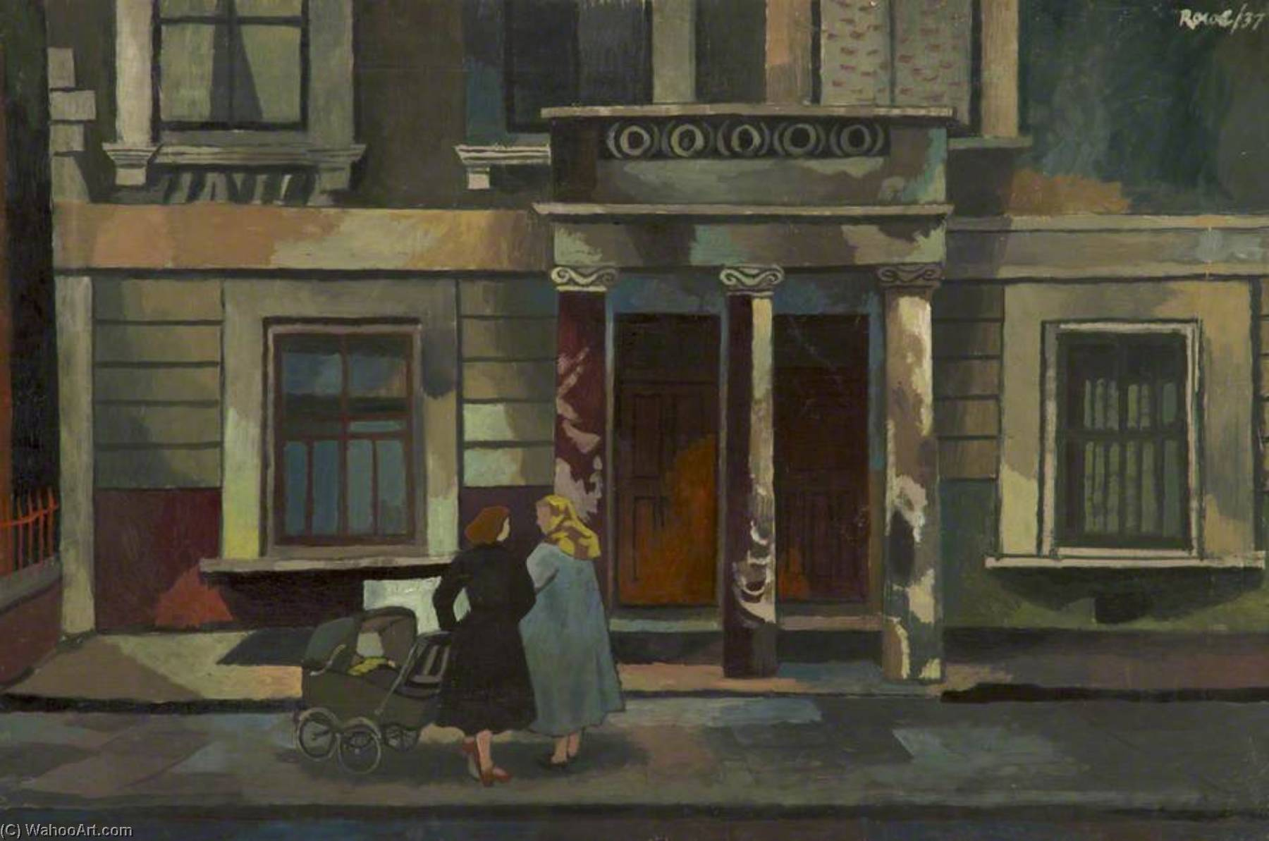Order Art Reproduction : Two Women and Pram, 1937 by Cliff Rowe | WahooArt.com