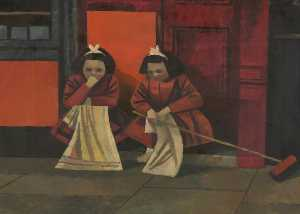 Cliff Rowe - Two Young Girls on Doorstep