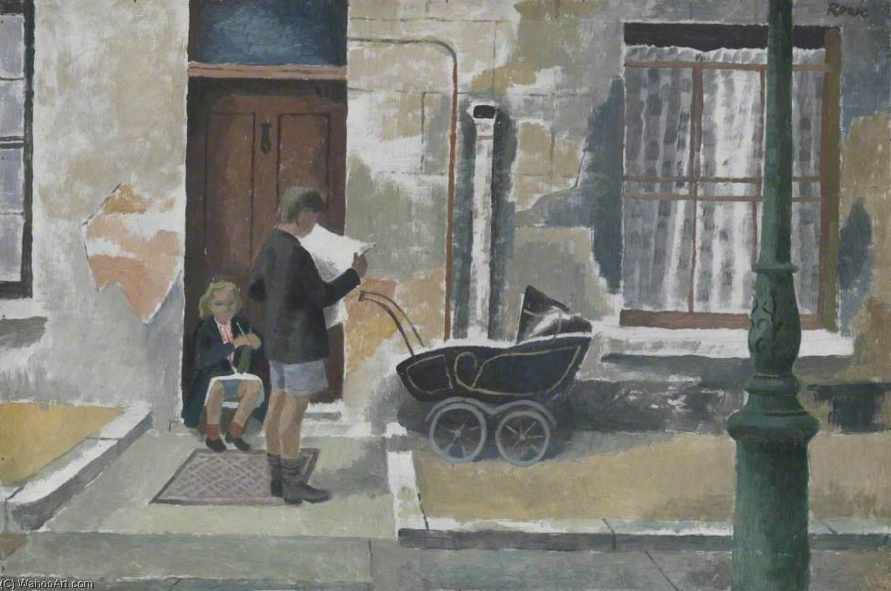 Street Scene Kentish Town, 1931 by Cliff Rowe | Oil Painting | WahooArt.com