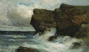 Edward Mitchell Bannister - Ocean Cliffs, (painting)