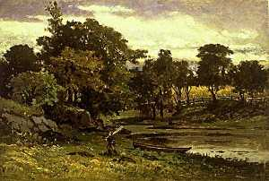 Edward Mitchell Bannister - Untitled (landscape with boat moored near stream, man walking in foreground), (painting)