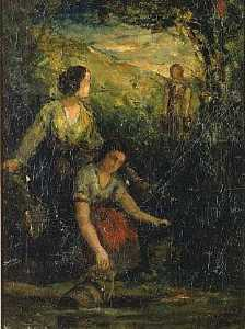 Edward Mitchell Bannister - The Drinking Pool (three women at water), (painting)