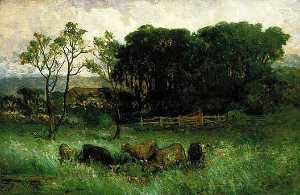 Edward Mitchell Bannister - Untitled (five cows in pasture), (painting)