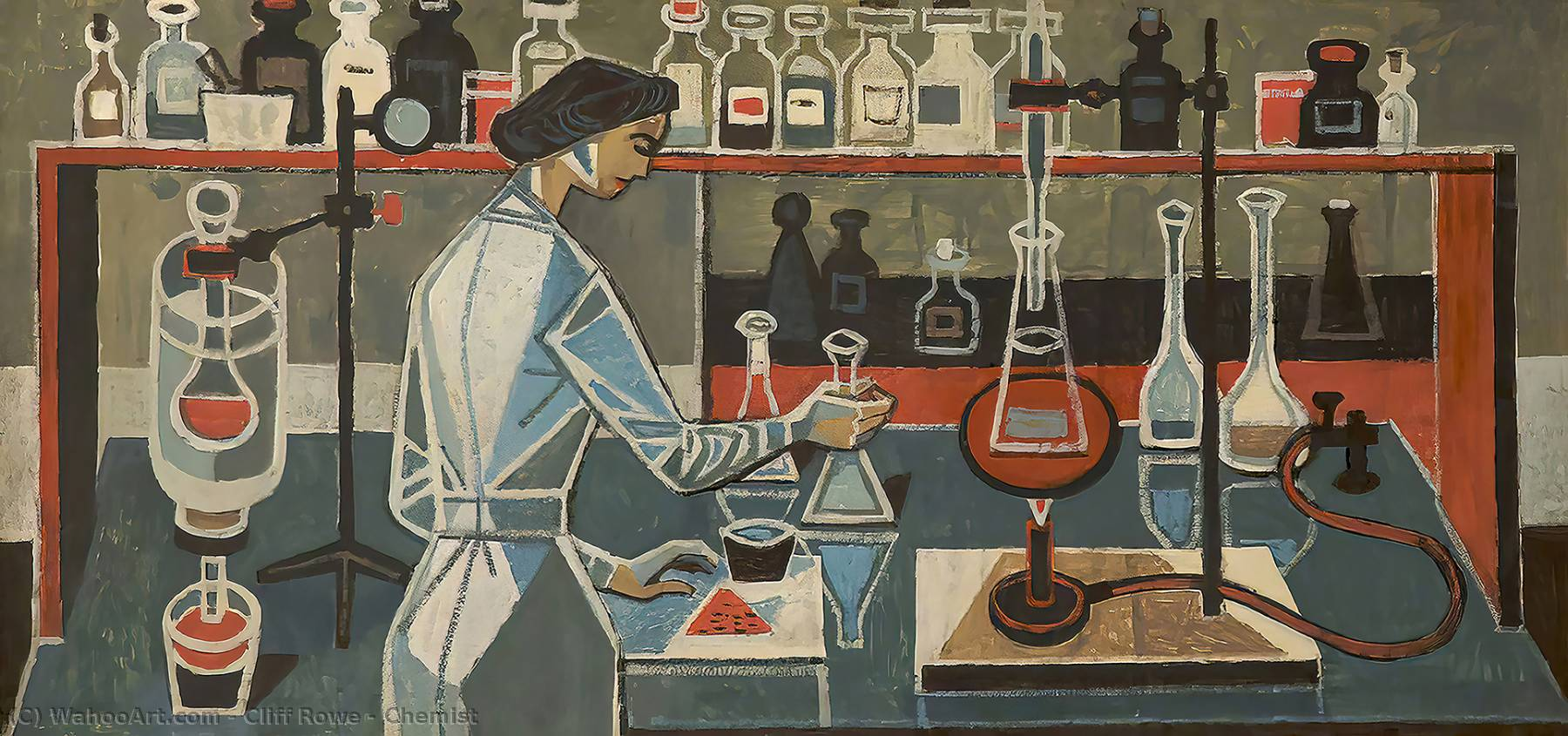 Chemist, Oil by Cliff Rowe